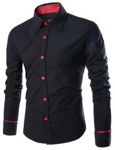 Discount Fashion Shirt Collar Slimming Checked Sutures Design Long Sleeve Polyester Shirt For Men - M BLACK Mobile