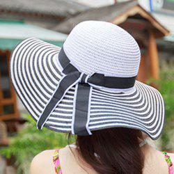 Chic Bowknot Lace-Up Embellished Stripe Pattern Straw Hat For Women -
