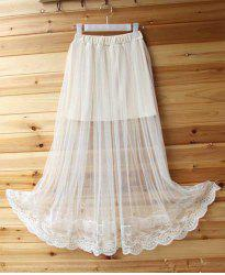 See-Through Tulle Overlay Skirt - WHITE