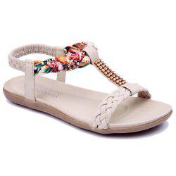 Sweet Weaving and Rhinestones Design Women's Sandals - OFF-WHITE