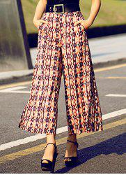 Vintage High-Waisted Printed Wide Leg Women's Pants - PINK S