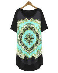 Trendy Style Scoop Neck Loose-Fitting Printed Short Sleeve T-Shirt For Women -