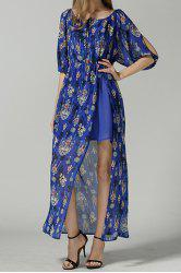 Vintage Scoop Neck Half Sleeve Printed Furcal Women's Dress -
