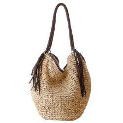 Fringe Weaving Straw Beach Bag - OFF-WHITE