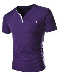Stylish V-Neck Slimming Button Embellished Color Splicing Short Sleeve Polyester T-Shirt For Men