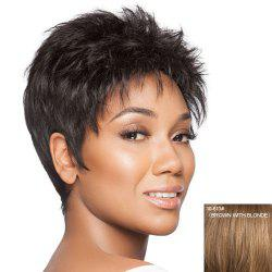 Trendy Fluffy Nobby Ultrashort Yaki Straight Human Hair Capless Wig For Women - BROWN WITH BLONDE