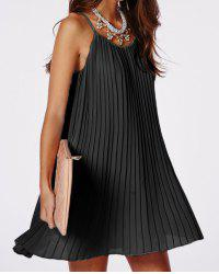 Sexy Spaghetti Strap Solid Color Pleated Dress For Women -