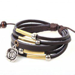 Flower Pendant Faux Leather Layered Bracelet