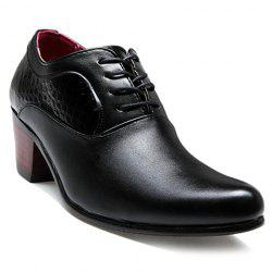 Trendy Stone Pattern and Black Design Men's Formals Shoes - BLACK