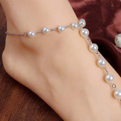 ONE PIECE Faux Pearl Decorated Anklet - SILVER