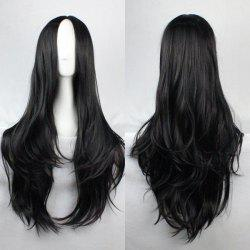 Fashion Fluffy Centre Parting Charming Long Wavy Synthetic Wig For Women - BLACK