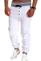 Loose Fit Stylish Lace-Up Button Embellished Rib Splicing Beam Feet Polyester Sweatpants For Men -