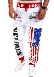 Loose Fit Stylish Lace-Up Stars Stripes Letters Print Beam Feet Polyester Sweatpants For Men -