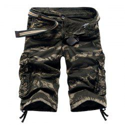 Military Style Stylish Camo Design Multi-Pocket Straight Leg Cotton Blend Shorts For Men - ARMY GREEN