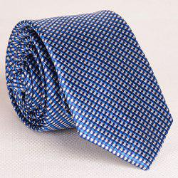 Noble Style Full Tiny Blue Grid Pattern Neck Tie For Men - PURPLISH BLUE