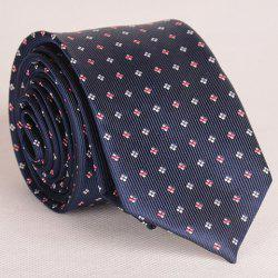 Noble Tiny Embroidered Grid Decorated Color Block Neck Tie For Men - PURPLISH BLUE