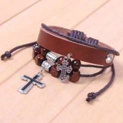 Beads Cross Pendant Layered Bracelet