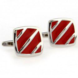 Pair of Fashionable Stripe Pattern Red Alloy Cufflinks For Men -