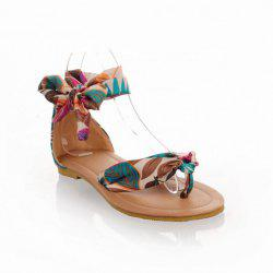 National Style Satin and Floral Print Design Women's Sandals - BLUE