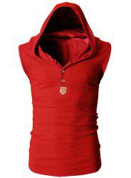 Fashion Hooded Slimming Solid Color Button Design Sleeveless Polyester Tank Top For Men - RED