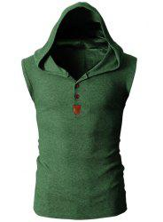 Fashion Hooded Slimming Solid Color Button Design Sleeveless Polyester Tank Top For Men - GREEN
