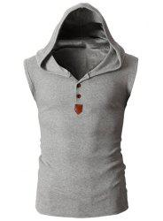 Fashion Hooded Slimming Solid Color Button Design Sleeveless Polyester Tank Top For Men -