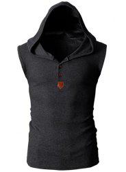 Fashion Hooded Slimming Solid Color Button Design Sleeveless Polyester Tank Top For Men - DEEP GRAY