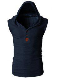 Fashion Hooded Slimming Solid Color Button Design Sleeveless Polyester Tank Top For Men - CADETBLUE L