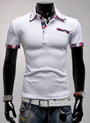 Fashion Turndown Collar Slimming Color Block Checked Splicing Short Sleeve Polyester Polo T-Shirt For Men - WHITE
