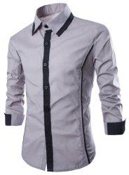 Fashion Shirt Collar Slimming Color Block Fake Tie Design Long Sleeve Polyester Shirt For Men -
