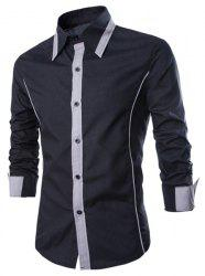 Fashion Shirt Collar Slimming Color Block Fake Tie Design Long Sleeve Polyester Shirt For Men