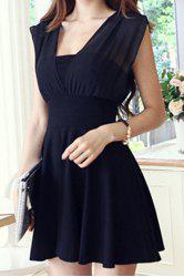 Sexy Square Neck Sleeveless Backless Bowknot Spliced Solid Color A-Line Women's Dress -