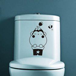 0353 DIY Fashion Monkey Flowerpot with Flower and Bee PVC Sticker Closestool Toilet Decor