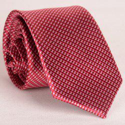 Simple Design Full Tiny Red Plaid Pattern Thin Neck Tie For Men