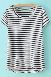 Casual Style Scoop Neck Asymmetrical Stripe Short Sleeve T-Shirt For Women -