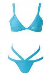 Sexy Style Bandage Voile Splicing Solid Color Divided Type Swimwear For Women -