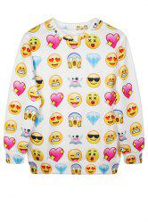 Casual Style Jewel Neck Emoji Print Long Sleeve Sweatshirt For Women -