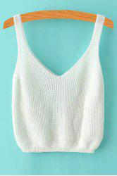 V Neck Ribbed Knitted Cropped Tank Top -