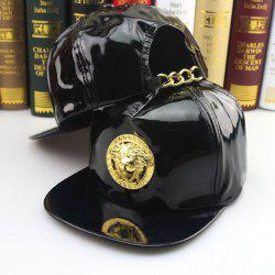Stylish Round Badge Shape Embellished Patent Leather Baseball Cap For Men