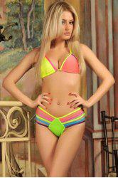 Sexy Style Colorful Rope Tie-Up Bikini Set For Women