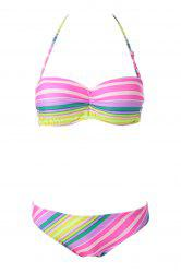Sexy Strapless Colorful Striped Women's Bikini Set