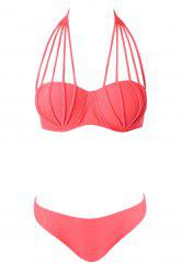 Sexy Style Halter Neck Solid Color Tie-Up Bikini For Women
