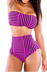 High Rise Striped Bandeau Bikini Set