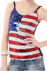 American Flag Sequins Patriotic Top