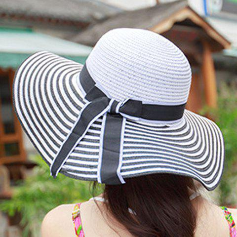 Fashion Chic Bowknot Lace-Up Embellished Stripe Pattern Straw Hat For Women