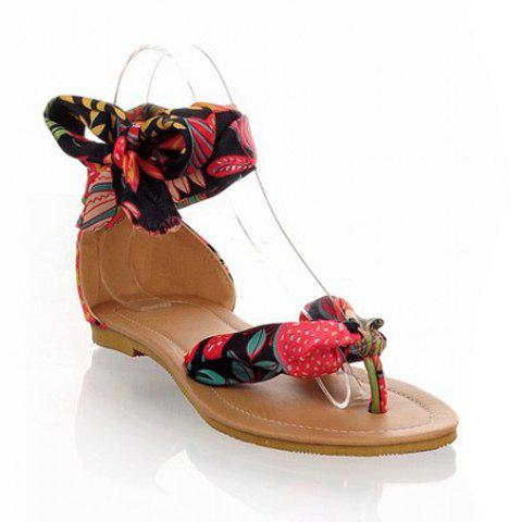 Affordable National Style Satin and Floral Print Design Women's Sandals