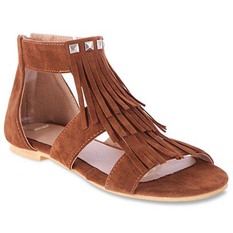 Cheap Sweet Suede and Fringe Design Women's Sandals