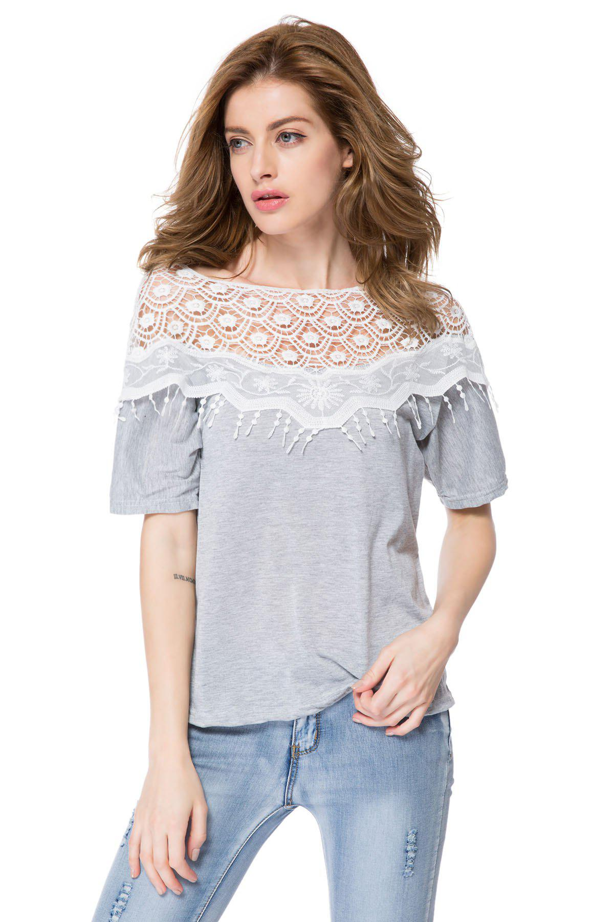 Lace Cutout Shirt Women Handmade Crochet Cape Collar Batwing Sleeve T-ShirtWOMEN<br><br>Size: M; Color: GRAY; Material: Cotton Blends; Shirt Length: Long; Sleeve Length: Half; Collar: Scoop Neck; Style: Casual; Season: Spring,Summer; Embellishment: Lace; Pattern Type: Patchwork; Weight: 0.160kg; Package Contents: 1 x T-Shirt;