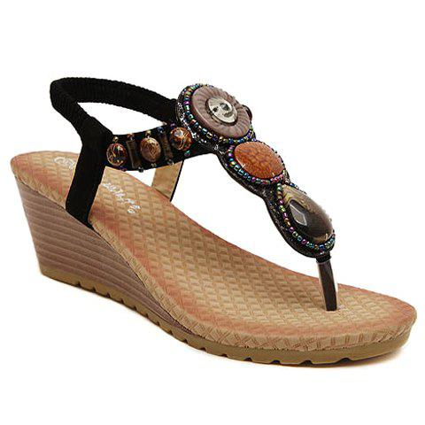 Cheap Stylish Wedge Heel and Beading Design Flip-Flop Women's Sandals