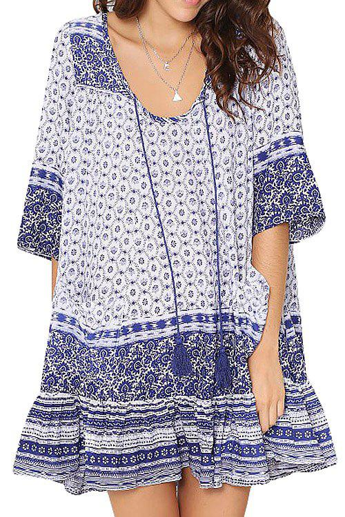 22 Off Blue Half Sleeve Tribal Print Dress Rosegal